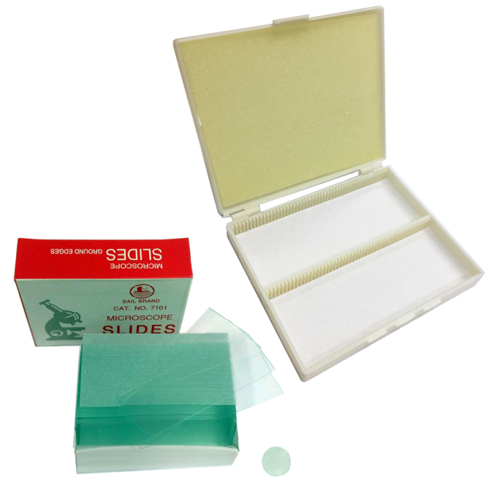 Microscope slides and 100-slot box